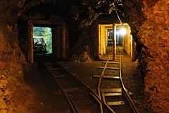 Old Uranium mine. Deep in the old uranium mine, the city of Jachymov in the Czech Republic Stock Photo