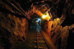 Old Uranium mine. Deep in the old uranium mine, the city of Jachymov in the Czech Republic Royalty Free Stock Image