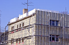 Old urban house renovation insulation works Royalty Free Stock Photography