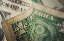 Old US Dollar bill, macro, close up photo Stock Photo