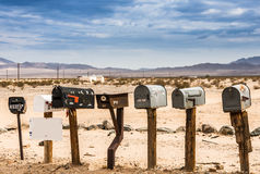 Old US Mailboxes along Route 66. In Arizona, USA - Picture made during a motorcycle road trip through the western United States Stock Photos