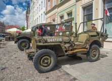 Old American Willys jeep military car parked