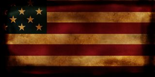 Old USA Flag with burned edges. On black background royalty free stock images