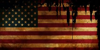 Old USA Flag disstressed. Old USA Flag with burned edges on black background and distressed corners stock illustration