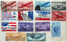 Old USA stamps on album page Royalty Free Stock Photos