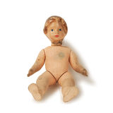 Old used antique doll nude  Royalty Free Stock Photos