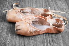 Old used  ballet pointe shoes Stock Photography