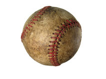 Old used baseball. An old scratched up baseball isolated with a white background Royalty Free Stock Images