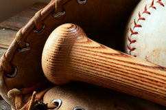 Old Used Baseball Equipment Stock Photo