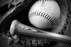 Old Used Baseball Equipment. A close up image of old used baseball equipment Stock Photography