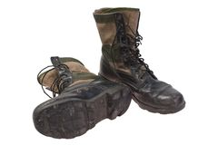 Old used boots vietnam war period isolated Stock Photography