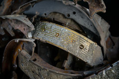 Old used brake shoes Stock Image