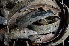 Old used brake shoes Stock Images
