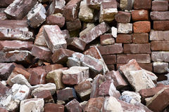 Old Used Bricks. A pile of old used chipped bricks selection stock photography