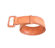 Old used brown leather belt isolated on white background Stock Image