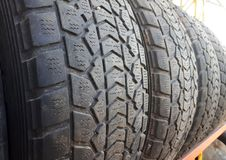 Old used car tires, tire dump, a bunch of used tires royalty free stock photography
