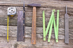 Old used carpentry tools Royalty Free Stock Photos