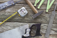 Old used carpentry tools Stock Photography