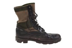 Combat boots vietnam war period isolated Stock Photo
