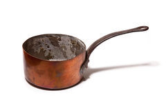 Old used copper saucepan Royalty Free Stock Photo