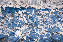 Old used cracked blue painting asian wall background Stock Images