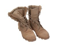 Old used desert boots iraq war period Stock Photo