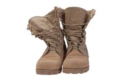Old used desert boots iraq war period Stock Images