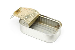 Old used dirty empty fish tin can. On white background stock photography