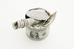 Old and used dollar tin isolated. Royalty Free Stock Photo