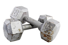Old used fifteen pound weights isolated on a white background Royalty Free Stock Photo