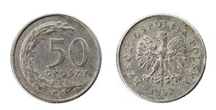 Old used fifty Polish groszy coin isolated on white background. stock image