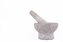 Old used granite stone mortar and pestle are Thai cooking tool on white background food isolated Royalty Free Stock Photos