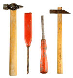 Old used hammers and chisels Royalty Free Stock Image