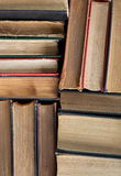 Old and used hardback books or text books seen from above. royalty free stock photos