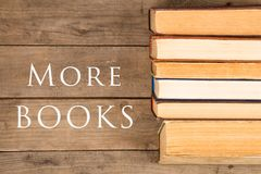 Old and used hardback books or text books and text More books royalty free stock images