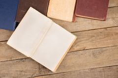 Hardback books or text books on wooden table. Old and used hardback books or text books on wooden table stock image