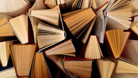 Old and used hardback books  top view. Image stock photography