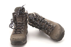 Old and used hiking shoes Stock Images
