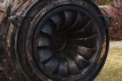 Old used hydroelectric turbine royalty free stock photo