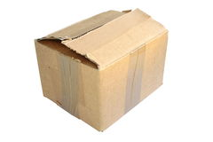 Old used isolated carton box Stock Photo