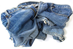 Old used jeans trousers Stock Photo