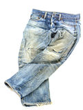 Old used jeans trousers isolated Stock Photo
