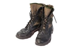 Old used jungle boots vietnam war period Royalty Free Stock Image