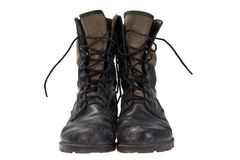 Old used jungle boots vietnam war period Stock Photo