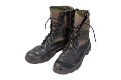 Old used jungle boots vietnam war period isolated Stock Photography