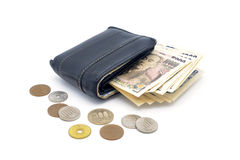old used leather wallet, coins and bank notes Royalty Free Stock Photos