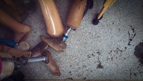 Old and used leg prosthesis in stock royalty free stock photography
