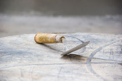 Old used metal masonry trowel Royalty Free Stock Photo