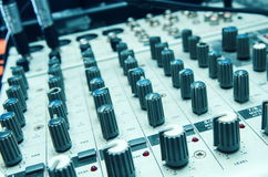 Old used musical mixer closeup Royalty Free Stock Photography