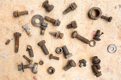 Old and used nuts and bolts Royalty Free Stock Images